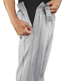 RELAXED COMFORT FLEECE PANTS WITH FULL LENGTH SIDE ZIPS LARGE GREY
