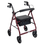 "ALUMINUM ROLLATOR FOLD UP AND REMOVABLE BACK SUPPORT 7.5"" WHEELS DRIVE MEDICAL"