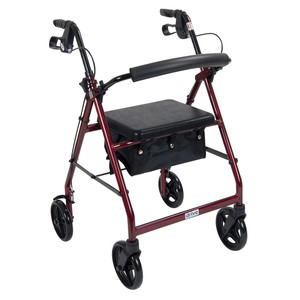 """ALUMINUM ROLLATOR FOLD UP AND REMOVABLE BACK SUPPORT 7.5"""" WHEELS DRIVE MEDICAL"""