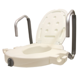 RAISED TOILET SEAT 2 INCH WITH FLIP BACK ARMS AND LID