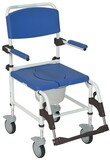"DRIVE MEDICAL WHEELED ALUMINIUM REHAB SHOWER COMMODE CHAIR WITH 5"" CASTORS"