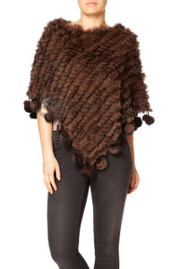 Chocolate Brown Coney Fur Poncho (with pom poms) RFD1019A-04