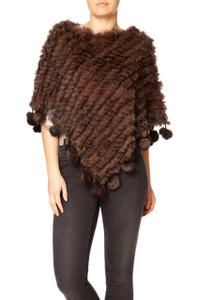 Chocolate Brown Coney Fur Poncho (with pom poms) RFD1019A-04