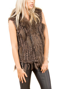Short Chocolate Brown Coney and Fox Fur Gilet (with tassels) FF48A-04