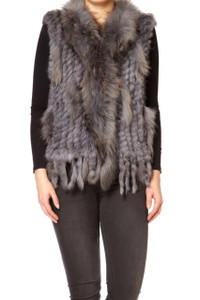 Short Mid Grey Coney and Fox Fur Gilet (with tassels) FF48A-03M