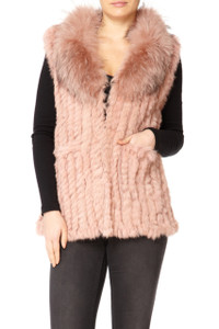Long Pink Coney and Fox Fur Gilet (detachable collar) RFD59A-06
