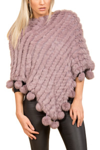 Light Purple Coney Fur Poncho (with pom poms) RFD1019A-D05