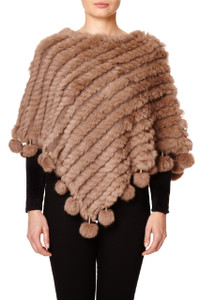 Dark Mocha Coney Fur Poncho (with pom poms) RFD1019A-D09