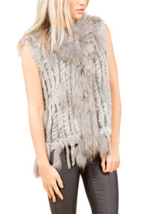 Light Grey Coney and Fox Fur Gilet  FF48A-03 (with tassels)