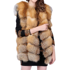 Natural Check Fox Fur Gilet WAFF09