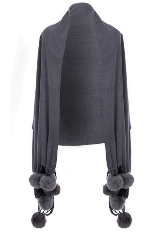 Cashmere and Silk Scarf with Faux  Pom Poms in Dark Grey