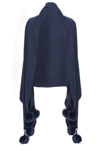 Cashmere and Silk Scarf with Faux Pom Poms in Navy