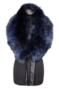 Large Navy Fox Fur Collar