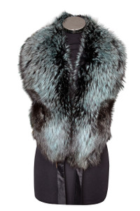 Large Black and Teal Fox Fur Collar LFC-07M
