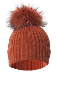 Rust Wool and Silk Fox Fur Bobble Hat