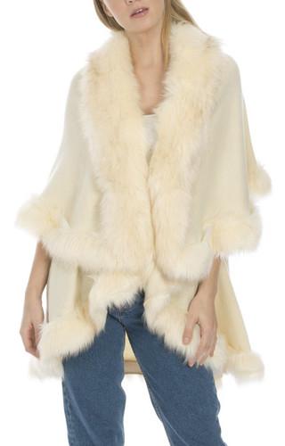 Faux Fur Wrap in Cream KFP23A-02