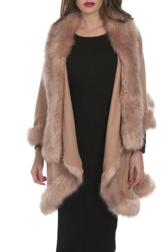 Faux Fur Wrap in Camel KFP23A-B06