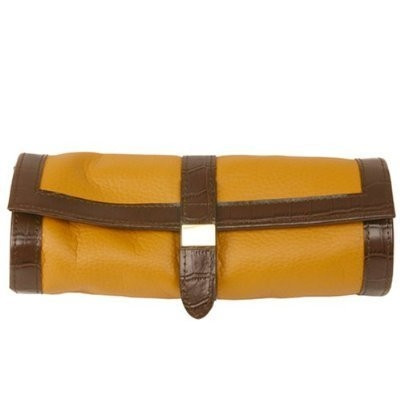 jewelry travel roll up by techswiss brown and yellow leather ts531tan main - Jewelry Roll