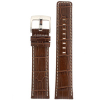 Espresso Leather Watch Band in Alligator Grain