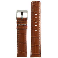 Honey Brown Leather Watch Band in Alligator Grain