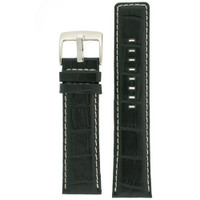 Black Leather Watch Band in Alligator Grain