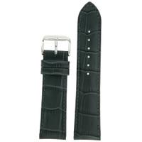 Dark Grey Leather Watch Band in Alligator Grain
