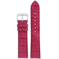 Fuchshia Leather Watch Band in Alligator Grain