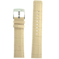 Cream Leather Watch Band in Alligator Grain