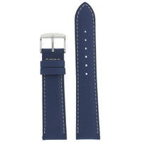 Dark Blue Leather Watch Band | Silver Buckle Strap | TechSwiss LEA625 | Main