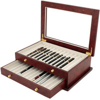 Burlwood Fountain Pen Box by TechSwiss | Wood Pen Display Case | TSBXPN26BUR | Drawer View