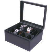 Mens Black Leather Belt Box & Organizer | TechSwiss TS6202BLK | Open View