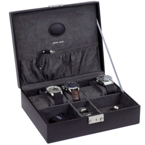 Black Leather Jewelry And Watch Box Techswiss Mens Cases Ts521blk Main