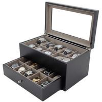 Black Modern Watch Chest   Wood Watch Case   Black Wood Watch Box   TechSwiss TSBXA20BLKXL   Main