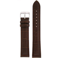 Watch Band Dark Brown Genuine Leather Strap Alligator Grain XXL
