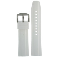 Silicone Rubber Watch Band in White 24mm
