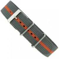 Watch Band Nylon One Piece Military Style Sport Orange Grey 20mm