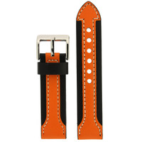 Durable Leather Contrast Watch Band in Black & Orange