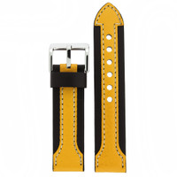 Yellow and Black Contrast Leather Sport Watch Band | LEA601 Main