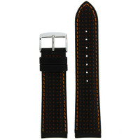 Thick Leather Watch Band in Black & Orange