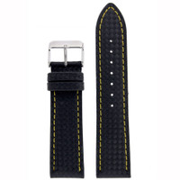 Watch Band Carbon Fiber Black Yellow Stitching Padded