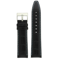 Watch Band Black Leather Crocodile Grain Blue Stitching