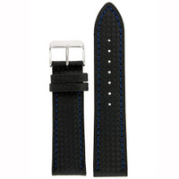 Watch Band Carbon Fiber Black Blue Stitching Padded