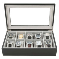Watch Storage Display Box 10 Watches Black Wood Finish TechSwiss - Front