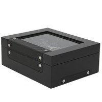 Black Wood Watch Box | Carbon Fiber Accents | Modern Watch Organizers | Tech Swiss TSBOX8200CF | Main
