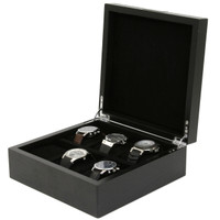 Engravable Black Wood Watch Box | Tech Swiss | TSBOX6200BK | Open Case