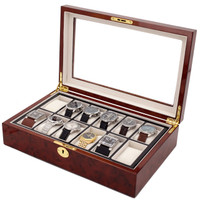 Burlwood Watch Box with Removable Tray - 12 Watches - Main view
