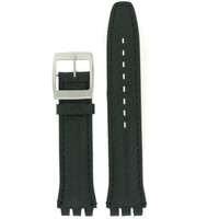 Swatch Style Watch Band Black Italian Leather 19 millimeters