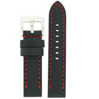 Watch Band Carbon Fiber Leather Black Red Stitching