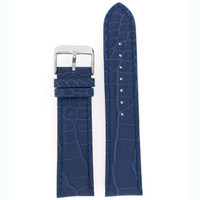 Wide Blue Crocodile Grain Leather Watch Band | Navy Leather Straps | TechSwiss LEA338 | Main