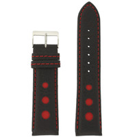 Sport Watch Band with Black Leather and Red Cut-Outs | Topstitched Watch Straps | Replacement Band LEA1263 by TechSwiss | Main